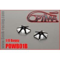 Rondelles d'aileron OPTIMA 1/8 hexagonales en ergal noir (2 pcs) -POWB01B
