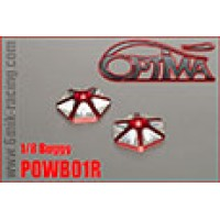 Rondelles d'aileron OPTIMA 1/8 hexagonales en ergal rouge  (2 pcs) -POWB01R
