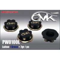 Ecrous de roues borgne 6-Mik noir & or laiton (4) - PW0100L