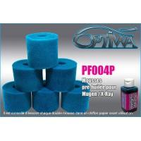 Mousses de filtre à air 6MIK pour MUGEN / X-RAY pré-huilées (6 pcs) - PF004P
