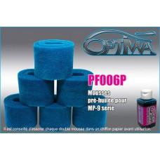 Mousses de filtre à air 6MIK pour KYOSHO MP9 pré-huilées (6 pcs) - PF006P
