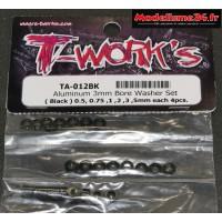 T-Work's Entretoises alu 3mm noires en 0.5, 0.75, 1, 2, 3, et 5mm : TA012BK