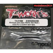 T-Work's Entretoises alu 4mm noires en 0.5, 0.75, 1, 2, 3, et 5mm : TA019BK
