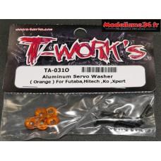 T-Work's Rondelles alu de servo Futaba / Hitech / KO ... oranges : TA031O