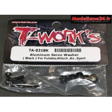T-Work's Rondelles alu de servo Futaba / Hitech / KO ... noires : TA031BK