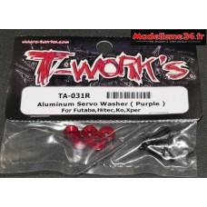 T-Work's Rondelles alu de servo Futaba / Hitech / KO ... rouges : TA031R