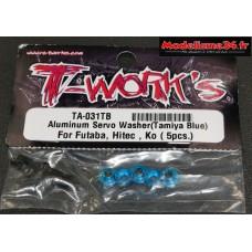 T-Work's Rondelles alu de servo Futaba / Hitech / KO ... bleues : TA031TB