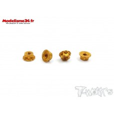 T-Work's Ecrous de roues 1/10 4mm orange light (4 ) : TA083O