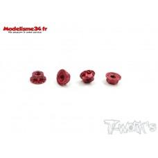 T-Work's Ecrous de roues 1/10 4mm rouge light (4 ) : TA083R