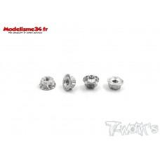 T-Work's Ecrous de roues 1/10 4mm argent light (4 ) : TA083S