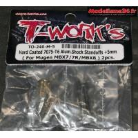 T-Work's Entretoises d'amortisseurs arrières aluminium +5mm MBX8 : TO240M5