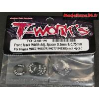 T-Work's Entretoises de réglages de voie avant (0.5 et 0.75mm) : TO-248-M
