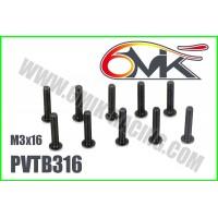 Vis Acier Tête Bombée M3x16 (10pcs) - PVTB316
