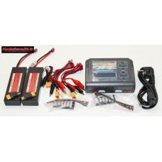 Combo chargeur C240 240w double sortie avec 2 batteries 2S 5200 + adaptateurs XT60 : m1061