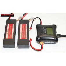 Combo chargeur H4AC double sortie avec 2 batteries 2S 5200 : m1064