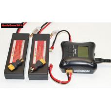 Combo chargeur H4AC double sortie avec 2 batteries 2S 5200 + XT60 : m1065