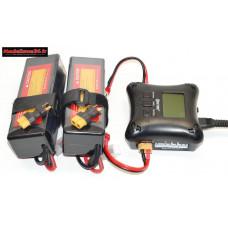 Combo chargeur H4AC double sortie avec 2 batteries 3S 5000 + prises XT60 : m1069