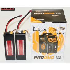 Combo chargeur Pro Duo Konect + 2 batteries 2S 5200 + XT60 : m1078