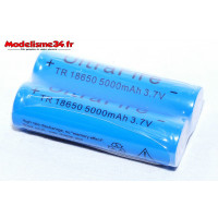 2 x Batteries 5000mAh 3.7V Li-ion rechargeable type 18650 : m1190