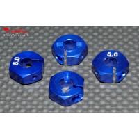 Hexagones 12x5mm alu bleus ( 4 ) : m65