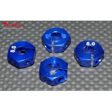 Hexagones 12x5mm alu bleus ( 4 ) : m715