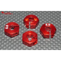 Hexagones 12x5mm alu rouges ( 4 ) : m716