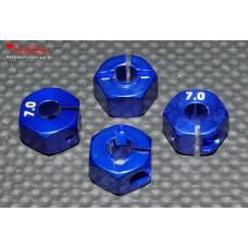 Hexagones 12x7mm alu bleus ( 4 ) : m717