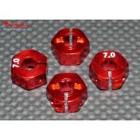 Hexagones 12x7mm alu rouges ( 4 ) : m718
