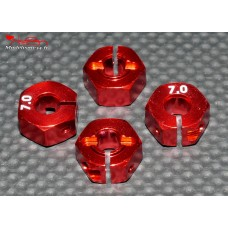 Hexagones 12x7mm alu rouges ( 4 ) : m718