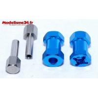 Hexagones 12x20mm alu bleus ( 2 ) : m722
