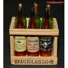 Caisse en bois avec 6 bouteilles de vin : m881