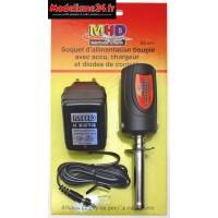 Chauffe bougie 1800mah avec diodes pour contrôler accu + chargeur - Z032011