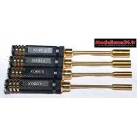 Outils 4 tournevis douilles métrique manche alu or ( 4 - 5.5 - 7 et 8mm ) : m204