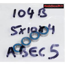 """Roulements 5x10x4 """"étanche"""" type ABEC 5 ( 4 pièces ) - m104B"""