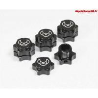 Hexagones de roue + écrous 17mm noir (4) -ABSIMA 2560002