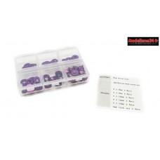 Hobbytech  Set de rondelle et écrou en alu anodisée violet (60pcs) : HT-525010P