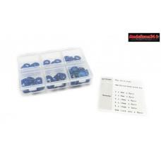 Hobbytech  Set de rondelle et écrou en alu anodisée Bleu (60pcs)  : HT-525010B