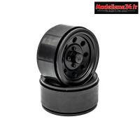 Hobbytech - Jantes seules 1.9 Beadlock Noires pour Crawler (1 paire) : HT-SU1802003