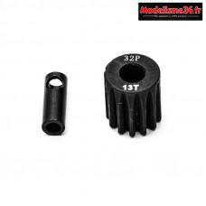Konect - Pignon moteur 32dp ø5mm + adaptateur 3,17mm 13 dents en acier : KN-183213