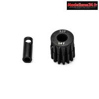 Konect - Pignon moteur 32dp ø5mm + adaptateur 3,17mm 14 dents en acier : KN-183214