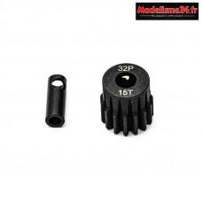 Konect - Pignon moteur 32dp ø5mm + adaptateur 3,17mm 15 dents en acier : KN-183215