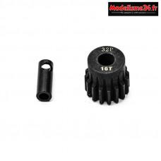 Konect - Pignon moteur 32dp ø5mm + adaptateur 3,17mm 16 dents en acier : KN-183216