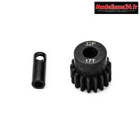 Konect - Pignon moteur 32dp ø5mm + adaptateur 3,17mm 17 dents en acier : KN-183217