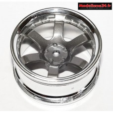 Jantes 1/10 touring 6 branches chrome / gris : m517