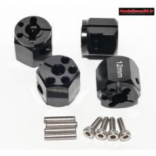 Hexagones 12x12mm alu noir à pincement ( 4 ) : m730