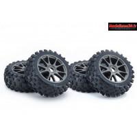 Kyosho 4 pneus montés/collés sur jantes grises Neo 3.0 : IFTH004GMKC