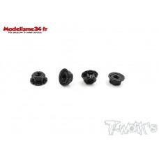 """T-Work's Ecrous de roues 1/10 4mm """"Noir"""" light  (4 )  : TA083BK"""