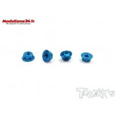 """T-Work's Ecrous de roues 1/10 4mm """"bleu"""" ligth (4)  : TA083B"""