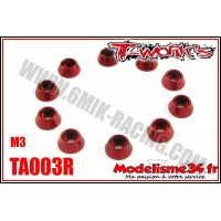 T-Work's Rondelles cuvettes rouge pour vis M3 TC  (10) - TA003R