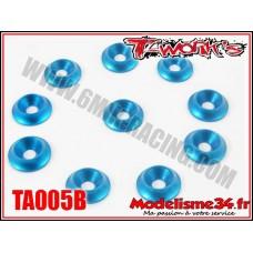 T-Work's Rondelles cuvettes M3 bleues pour vis fraisées (10) - TA005B